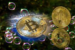 Bitcoin and a soap bubbles concept stock images