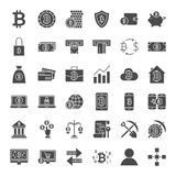 Bitcoin Solid Web Icons. Vector Set of Cryptocurrency Glyphs Royalty Free Stock Photography