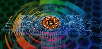 Bitcoin som bryter abstrakt bakgrund Fotografering för Bildbyråer