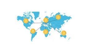 Bitcoin som bryter animering Crypto valutablockchain på världskartan royaltyfri illustrationer