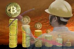 Bitcoin som bryter begrepp Arkivfoto