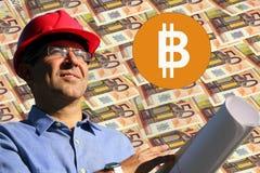Bitcoin som bryter faktiskt valutabegrepp Royaltyfri Fotografi
