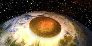 Bitcoin som spränger av royaltyfria bilder