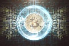 Bitcoin sopra fondo concettuale Immagine Stock