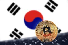 Bitcoin on South Korea flag background. Bitcoin. Bitcoin on South Korea flag background stock photos