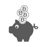Bitcoin in spaarvarken Stock Foto's