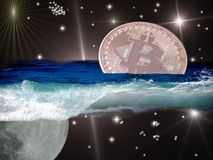 Bitcoin in space ocean Royalty Free Stock Image