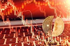 Bitcoin spaltete sich in zwei Stücken auf Tastatur auf Bitcoin-Börsenkurs sinkt Konzept ab Wiedergabe 3d vektor abbildung