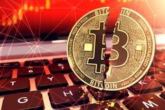 Bitcoin spaltete sich in zwei Stücken auf Tastatur auf Betrug und Lösegelder festgelegt mit cryptocurrencies Konzept Wiedergabe 3 stock abbildung