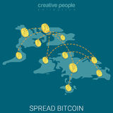 Bitcoin spreidde vlakke isometrische vector 3d wereldwijd van economiemuntstukken uit Stock Afbeelding