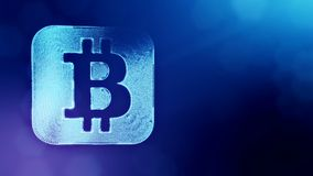 Bitcoin icon. Financial background made of glow particles as vitrtual hologram. Shiny 3D loop animation with depth of