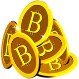 Bitcoin stack over white Royalty Free Stock Photography