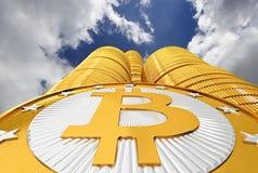 Bitcoins `Skyscraper` - 3D Rendering Royalty Free Stock Photo