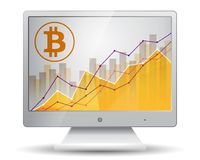 Bitcoin statistics chart showing different growing graphs on the. Display of monitor Stock Image