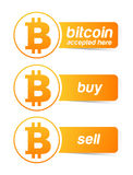 Bitcoin sticker banner set. On white Stock Photo