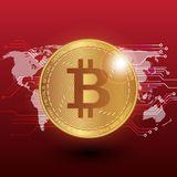 Bitcoin stock  illustration. Digital currency. Cryptocurrency. Golden coin with bitcoin symbol on the red background and wor Stock Photos