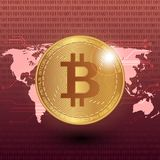 Bitcoin stock vector illustration. Digital currency. Cryptocurrency. Golden coin with bitcoin symbol on the world map. Bitcoin stock vector illustration. Digital Royalty Free Stock Photography