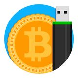 Bitcoin storage icon. Emblem app safety crypto coin, web technology btc. Vector illustration Royalty Free Stock Photo