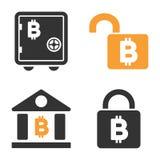 Bitcoin Storage Lock Vector Icon Set. Style is bicolor flat symbols Stock Image