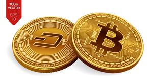 Bitcoin streck isometriska mynt för läkarundersökning 3D Digital valuta Cryptocurrency Guld- mynt med strecksymbol- och Bitcoin s royaltyfri illustrationer