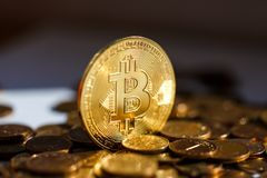 Bitcoin is strong. Decentralization provides the cost of bitcoin. Coin, souvenir royalty free stock images
