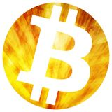 Bitcoin stylized in a gold coin. Vector Royalty Free Stock Image