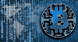 Bitcoin sur le fond de code de matrice avec la carte du monde Concept de Criyptpcurency image stock