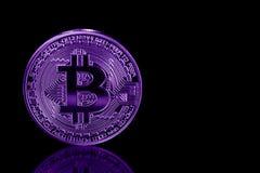 Bitcoin sur le fond noir avec la réflexion Image ultra-violette Image libre de droits