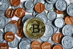 Bitcoin sur nous pièce de monnaie Photos libres de droits