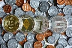 Bitcoin sur nous pièce de monnaie Photographie stock