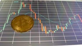 Bitcoin sur un diagramme des prix photos stock