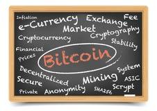 Bitcoin svart tavla vektor illustrationer