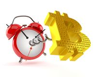 Bitcoin symbol with alarm clock Royalty Free Stock Images