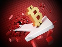 Bitcoin symbol on the arrow destroying the wall. 3D illustration.  Stock Image
