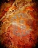 Bitcoin-Symbol auf prähistorischem Hintergrund mit Tieren und Jägern Stockfoto