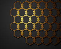 Bitcoin symbol background. Bitcoin symbols connected in a pattern. Cryptocurrency background. 3D illustration Royalty Free Stock Images