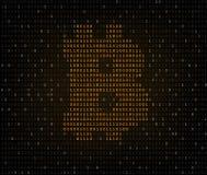 Bitcoin symbol binary code Stock Photos