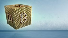 Bitcoin symbol in blockchain technology and cryptocurrency concept. Abstract background 3d illustration. Royalty Free Stock Image