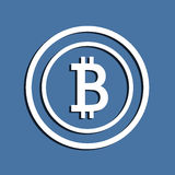 Bitcoin. Symbol on a blue background. Flat design element Royalty Free Stock Photo