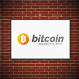 Bitcoin symbol on brick wall Royalty Free Stock Photos
