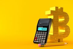 Bitcoin symbol with calculator and pencil. Isolated on orange background. 3d illustration Royalty Free Stock Images