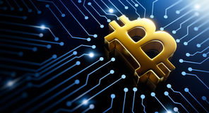 Bitcoin symbol. On circuit converging point Royalty Free Stock Photography