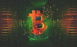 Bitcoin symbol. Concept of cryptocurrency mining stock images