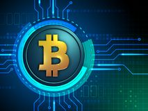 Bitcoin symbol connected to some circuits Stock Photography