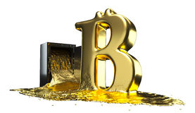 Bitcoin symbol derives from the safe. Path included. Perfect for advertising models. Stock Photo