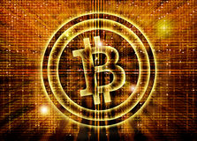 Bitcoin symbol digital abstract background. Golden bitcoin symbol digital abstract background Royalty Free Stock Photo