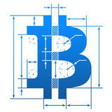 Bitcoin symbol with dimension lines Stock Images
