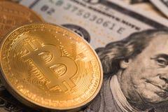 Bitcoin. Symbol and 100 dollars royalty free stock photo