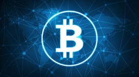 Bitcoin symbol on futuristic hud banner. Royalty Free Stock Images