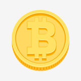 Bitcoin symbol on gold coin. Bitcoin currency symbol on gold coin, money sign vector illustration isolated on white background Royalty Free Stock Photo